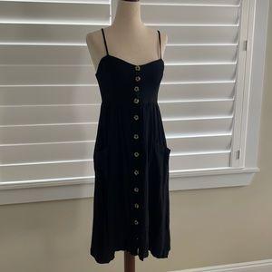Black button front midi dress size Medium like new